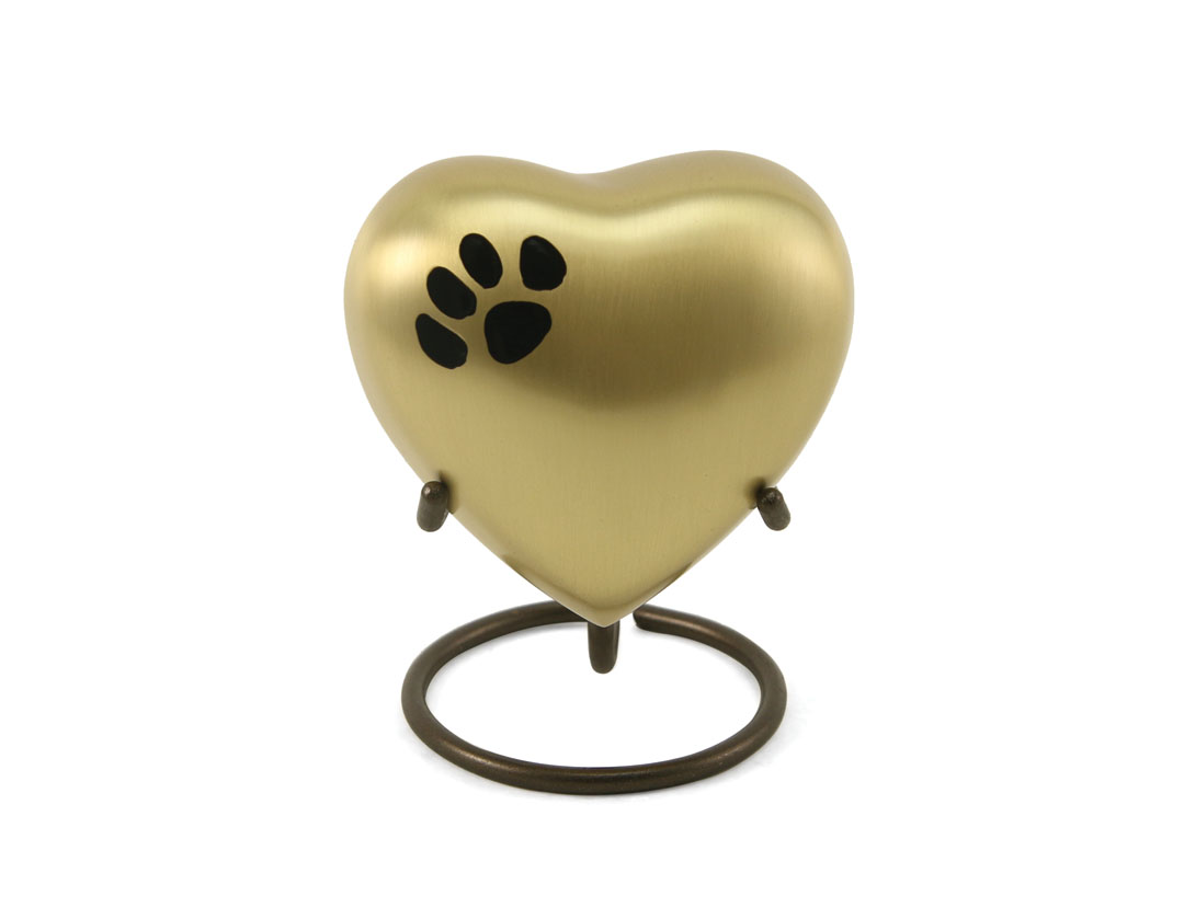 Keepsake Heart- Classic Single Paw Bronze Image